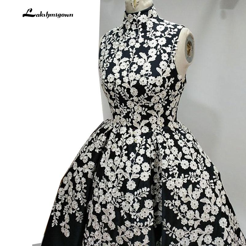 Högsta halsen Svart Aftonklänning Bollfärge Ärmlös Satin - Särskilda tillfällen klänningar - Foto 3