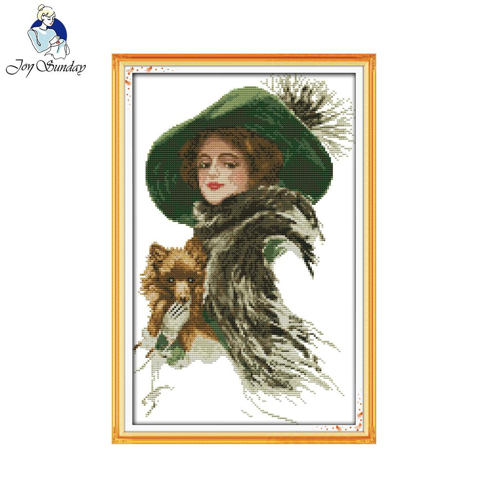 Joy Sunday Lady With A Pet Counted Printed On Fabric 14CT 11CT Cross Stitch Kits Embroidery Needlework Sets Home Decoration