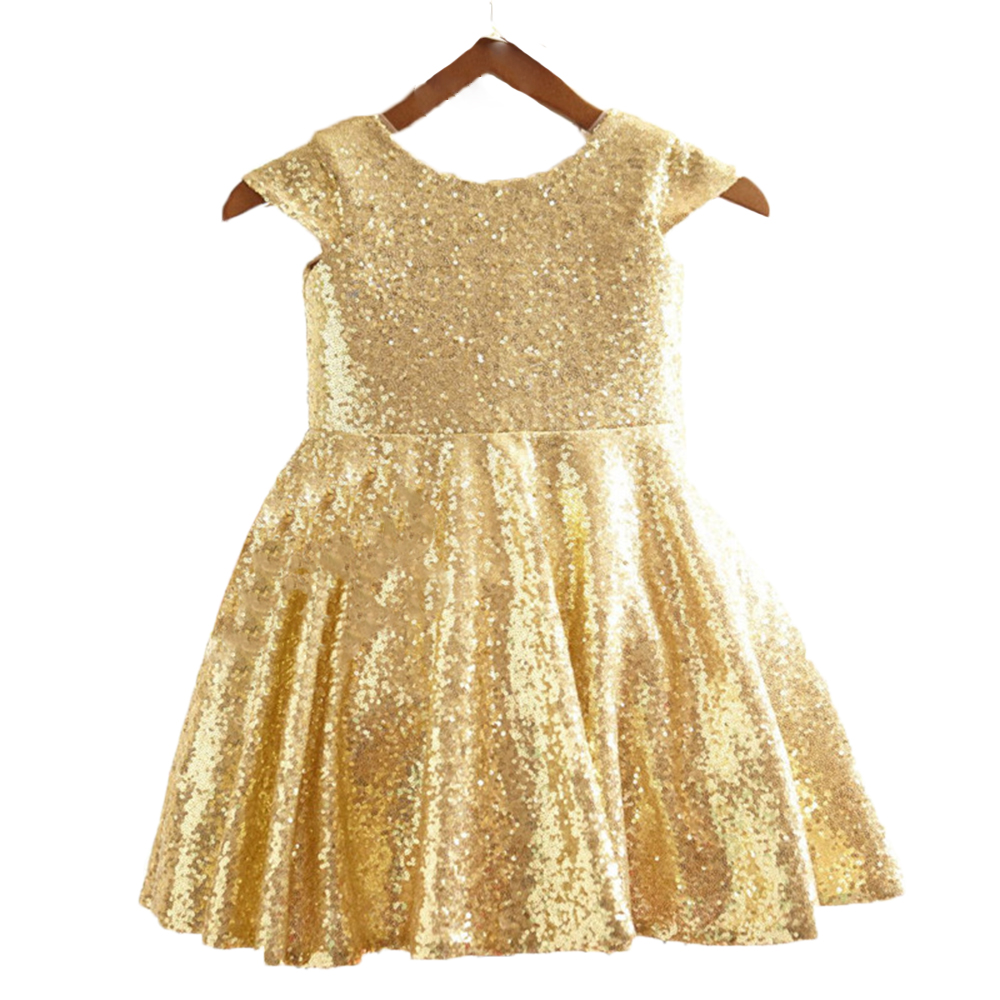 Girl dress for wedding and party 2018 kids girl princess costume sleeveless gold  birthday party dress dresses children clothing 2017 new girls dresses for party and wedding baby girl princess dress costume vestido children clothing black white 2t 3t 4t 5t