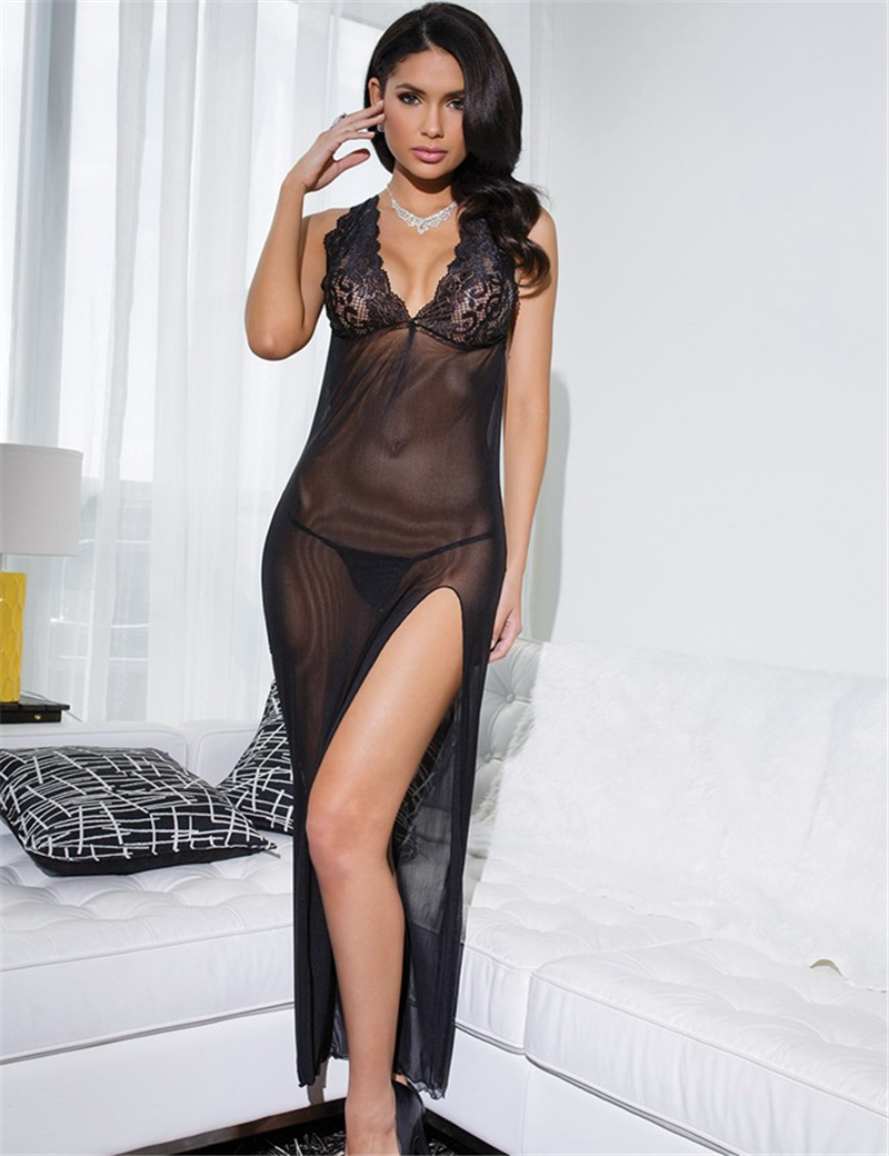 RQ80105 Solid black women nightwear pajamas solid black transparent hot sale fancy underwear ohyeah brand new