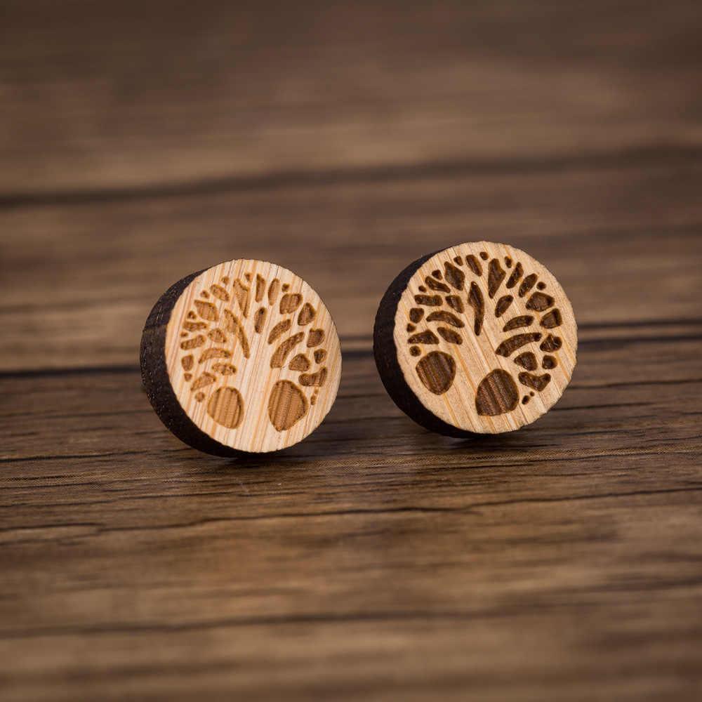 Stokrotki pragnąc drzewo drewniane kolczyki drzewo życia dla kobiet prezent dla mężczyzny biżuteria dziewczyna para Bijoux Femme