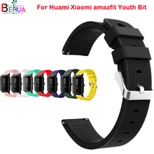 20mm Soft silicone watch band for Huami Xiaomi amazfit Youth Bit smart watch replacement sport wrist band Strap watchband Belt 20mm nylon sport strap watchband for huami amazfit bip youth smart watch replacement comfortable wristband watch band strap