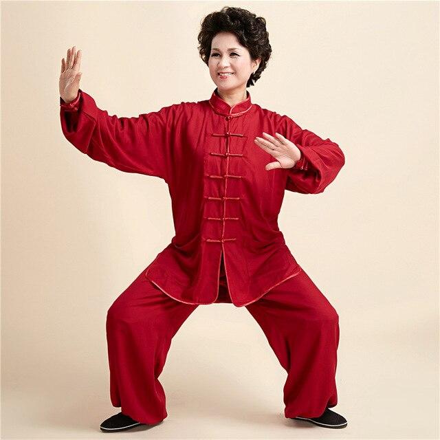 e9ca52b71f5e4 Mulheres Gola Mandarim Cor Vermelha sapatos de Artes Marciais Tai Chi Se  Adapte Longo de manga
