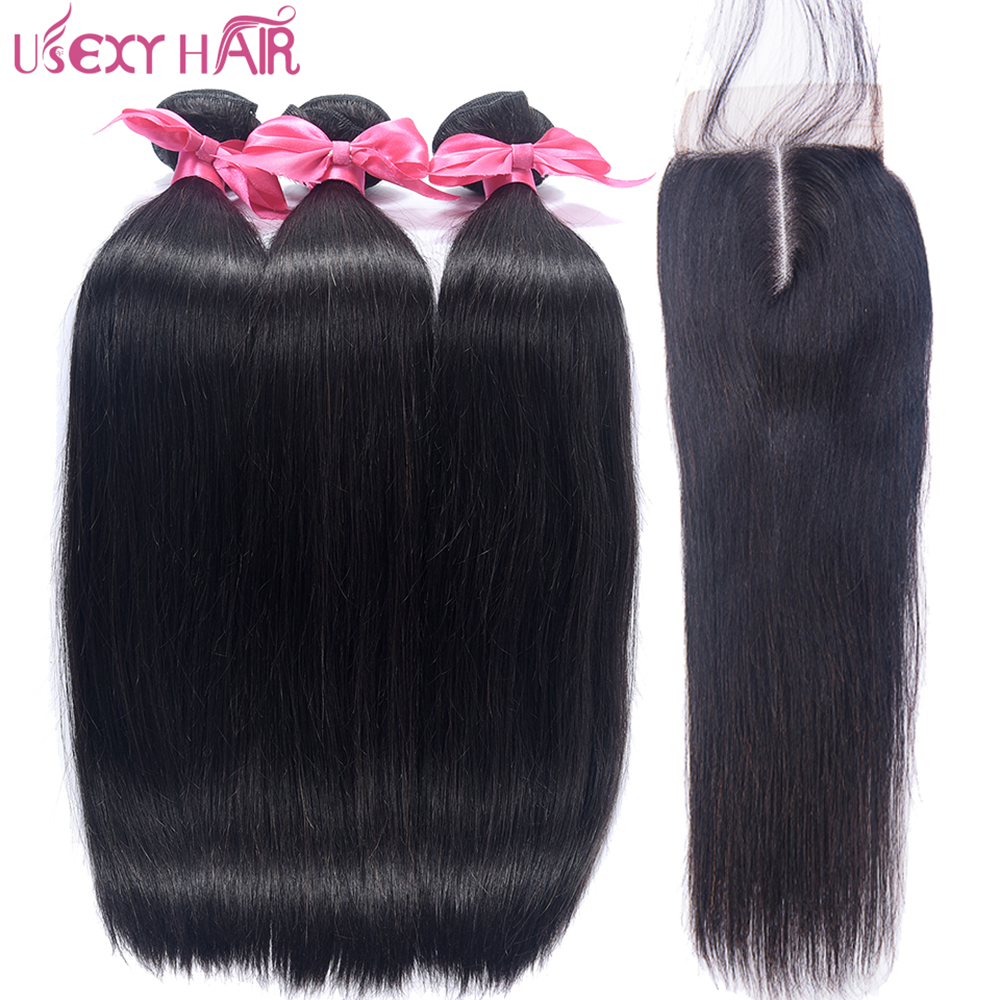 USEXY HAIR Peruvian Straight Hair With Lace Closure Free/Middle Part 3 pcs Human Hair Bundles With Closure Remy Hair Extensions