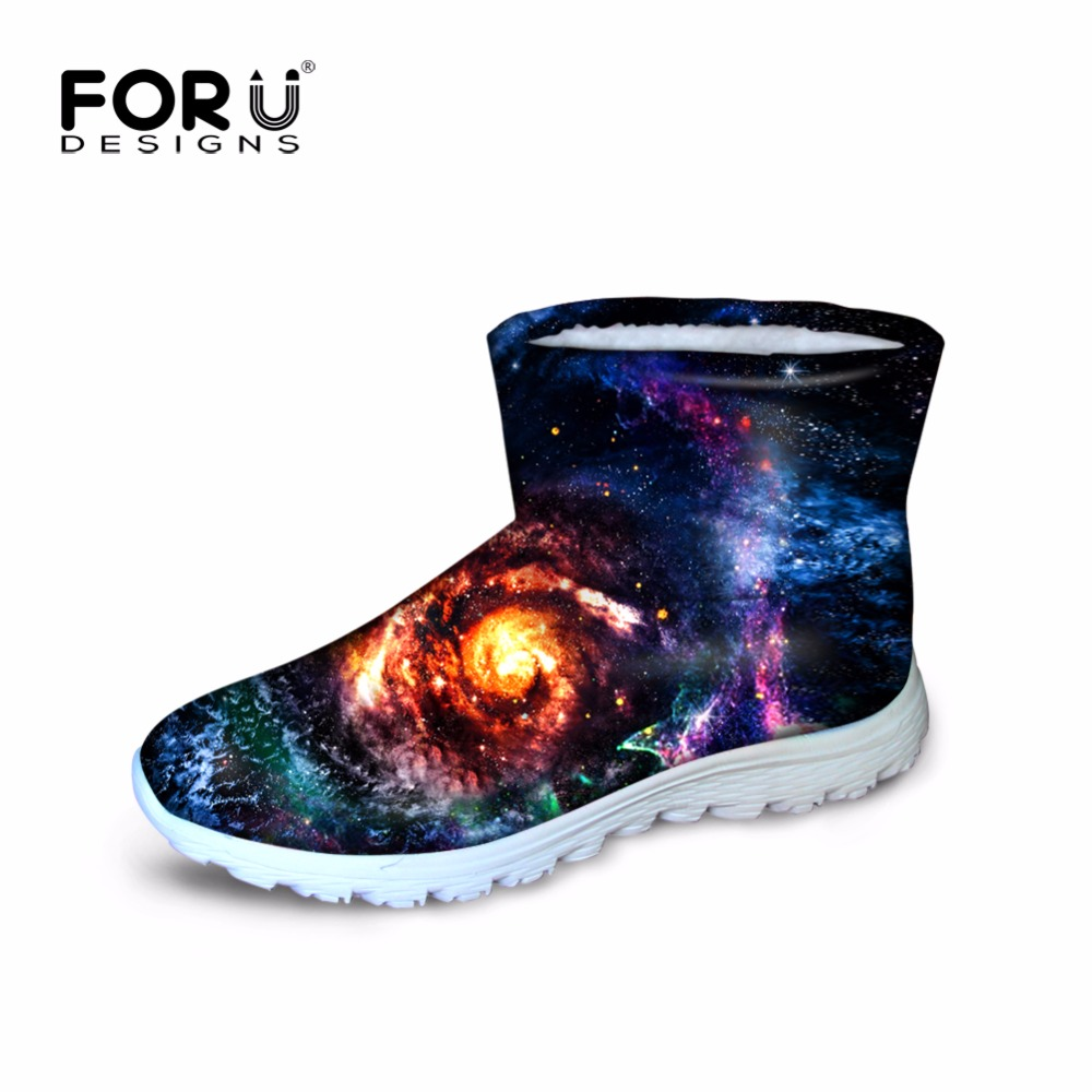 ФОТО FORUDESIGNS Winter Women Short Ankle Boots For Feminine Galaxy Star Prints Casual Walking Warm Ladies Shoes Breath Zapatos Mujer