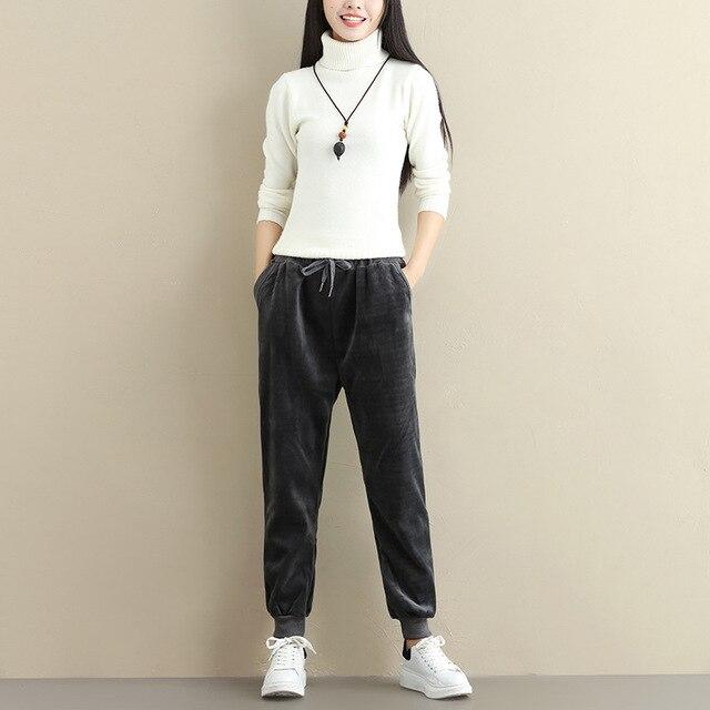 Plus Size Women Winter Velvet Pants Gold Fleeces Thickening Elastic Drawstring Waist Harem Pants Female Warm Trousers 3