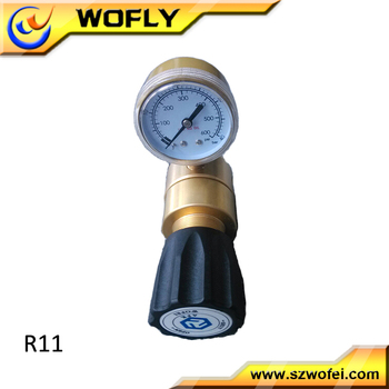 """R11 1/4""""NPTF inlet 3000psi outlet 300psi brass common gas regulator with psi/bar gauge price"""