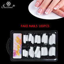 Saviland 100PCS Poly Gel Professional Fake Nails Clear French Full Cover Acrylic Nail Art Fake Nails Model(China)