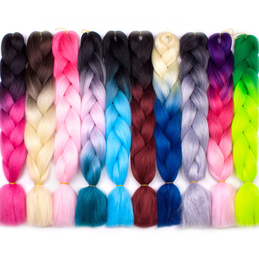 Bling hår 1 st 24 tum två tre toner ombre kanekalon flätande - Syntetiskt hår