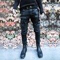 Novos homens da forma do punk black rock jeans skinny lápis calças jeans rasgado calças de brim magros longas calças para homens stage trajes
