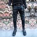 Nuevos hombres de la moda punk rock flacas pantalones lápiz del dril de algodón rasgado vaqueros negros pantalones vaqueros delgados pantalones largos para los hombres stage trajes