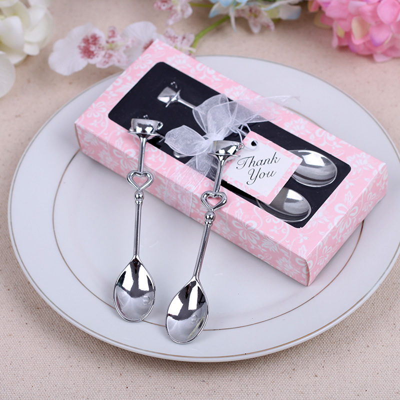 2PC / Box Wedding Gift Gift Creative Gift Stainless Steel Couple Coffee Spoon Utility Mini Spoon Kitchen Tableware2PC / Box Wedding Gift Gift Creative Gift Stainless Steel Couple Coffee Spoon Utility Mini Spoon Kitchen Tableware