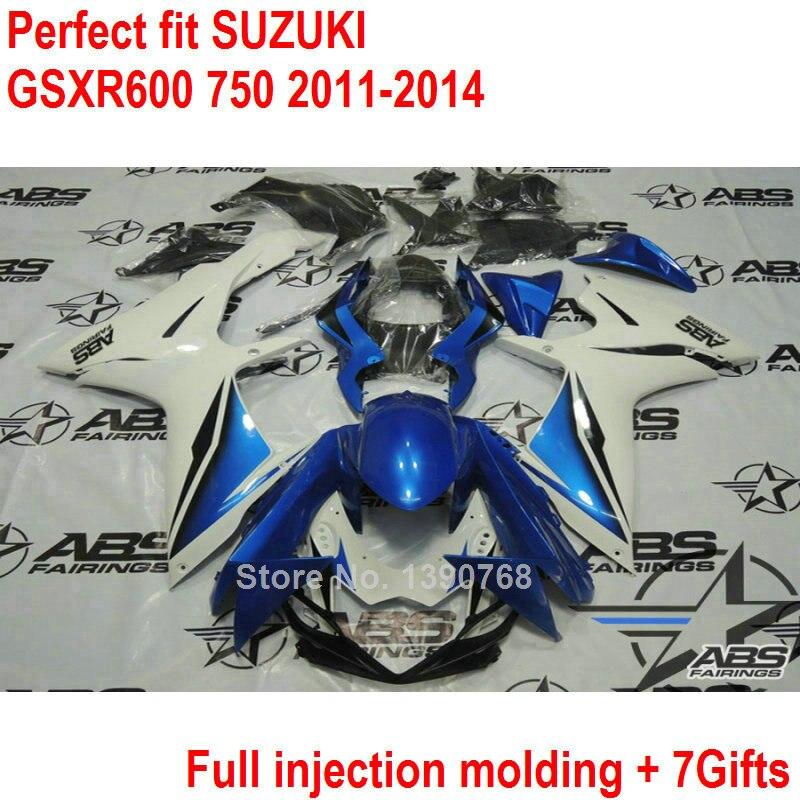 Injection molding ABS fairings for Suzuki GSXR600 GSXR750 K11 2011 2012 2013 2014 blue white fairing kit GSXR 600 750
