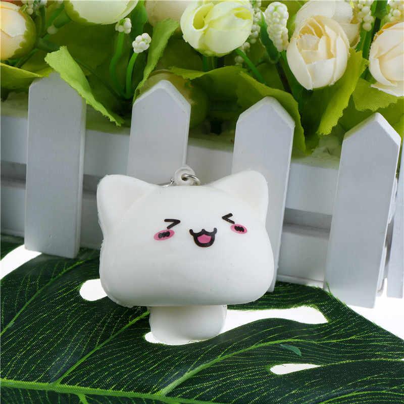 Kawaii Hewan Mochi Putih Multi Ekspresi Jamur Kelinci Mainan Ponsel Tali Liontin Lembut Anak-anak Mainan Hadiah