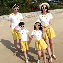 family look mother daughter father son matching clothes white cotton short sleeve family t shirt girls yellow casual short pants family matching clothes summer fashion mother daughter dress father son short sleeve cotton tshirt patchwork striped family look