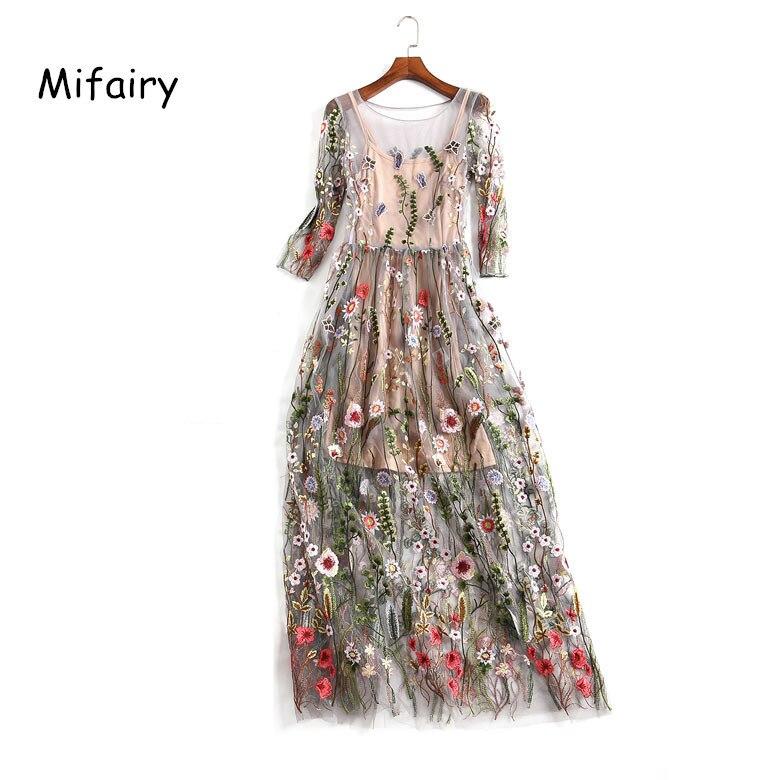 Mifairy Piste Robes Cadrage Sheer Mesh Broderie Plage Robes Longues Bohème D'été Robes De Festa P104