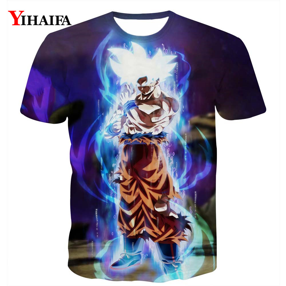 Summer Men 3D Print T shirt Galaxy Fighting Goku Saiyan Dragon Ball Z Anime Casual Tee Shirts Graphic Tee Short Sleeve Tops(China)