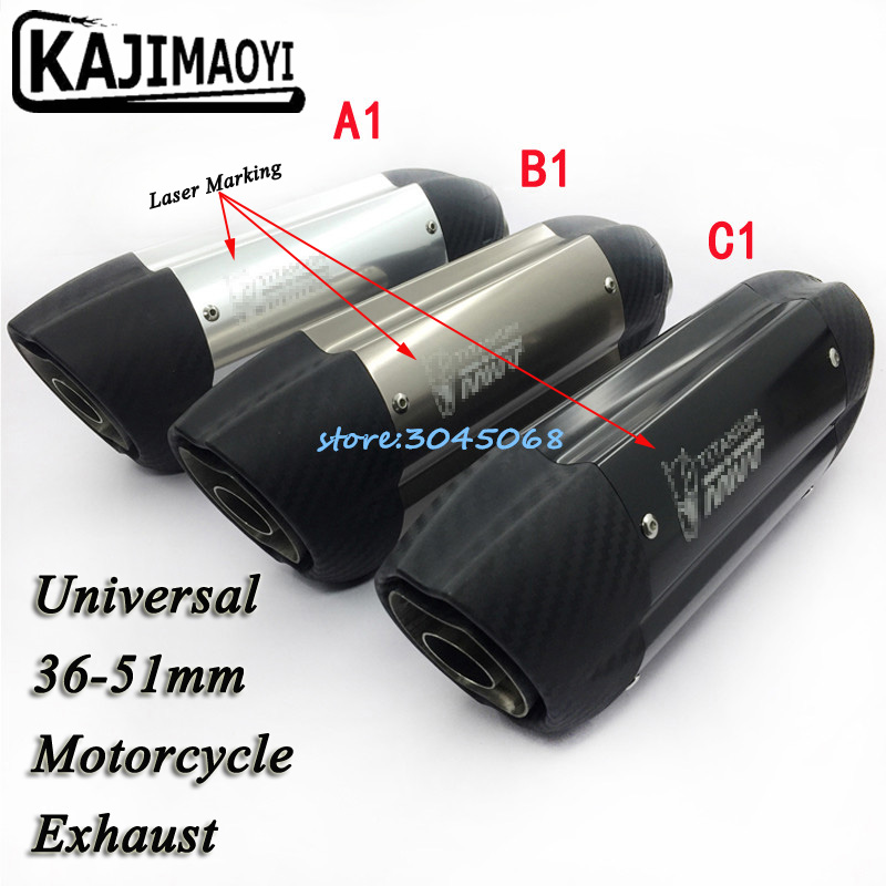 2017 New Model 51MM Universal Motorcycle Exhaust Muffler Laser Marking Mivv Motorbike Exhaust Pipe For Ninja250 ER6N MT-07 MT09 universal id 61mm motorcycle exhaust pipe with sc laser marking logo for large displacement motorcycle with full set accesories