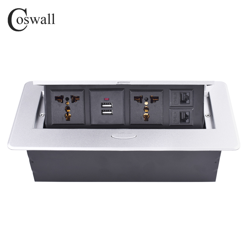 COSWALL Zinc Alloy Plate POP UP 2 Universal Socket For EU UK Chile Dual USB Charge Port 2 RJ45 CAT5E Internet Jack Table Outlet