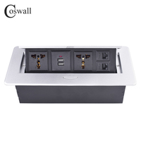 COSWALL Zinc Alloy Plate Slow POP UP 2 Universal Socket Dual USB Charge Port 2A Output 2 RJ45 CAT5E Internet Jack Table Outlet