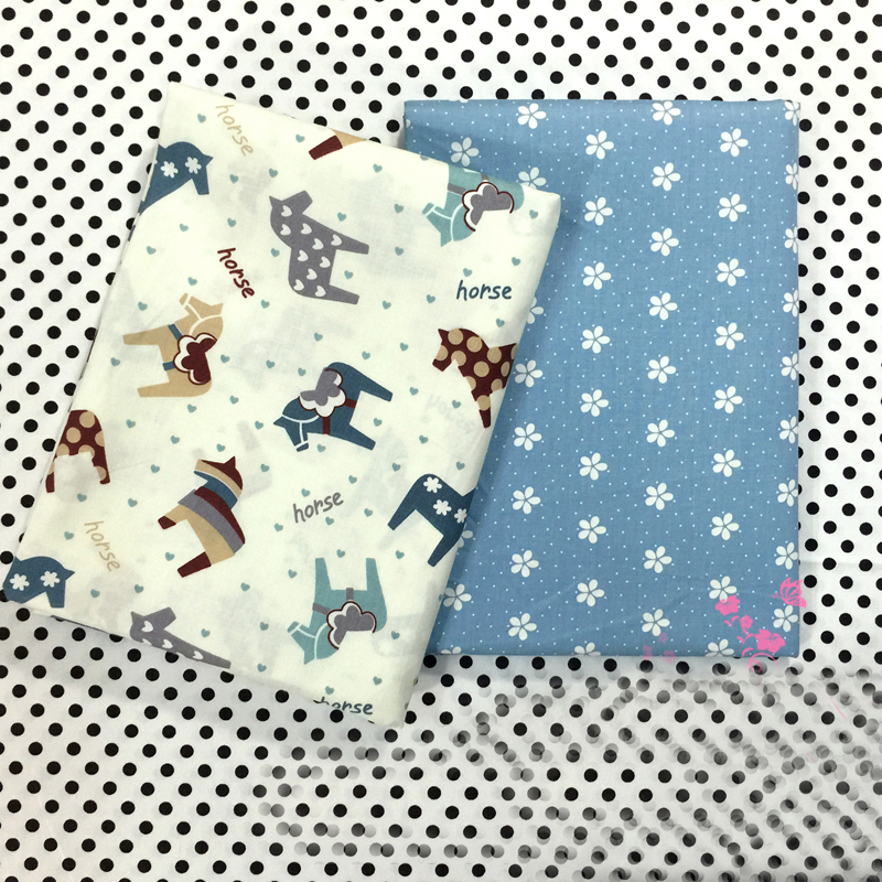 Horse printed twill cotton fabric tissue for diy for Cotton sewing material