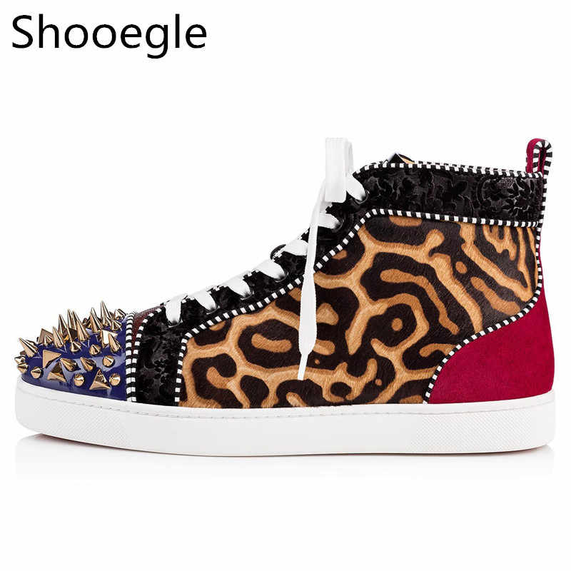 Leopard Men Casual Shoes Gold Rivets Stud Sneaker Lace Up High Top Fashion  Stress Shoes Men b1a897ca0b9a