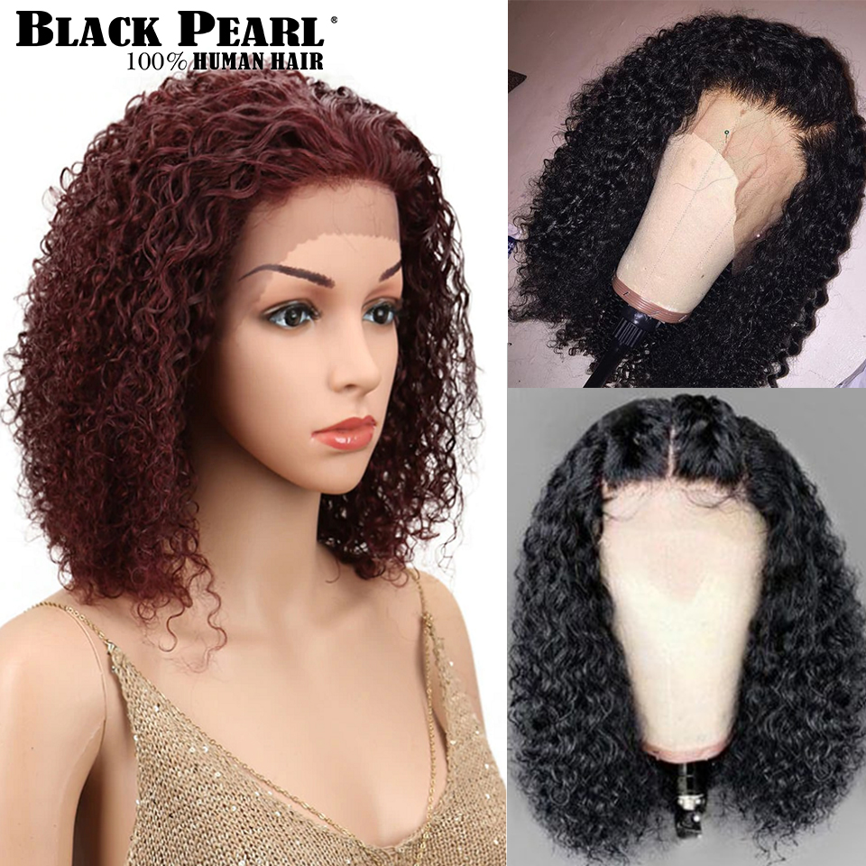 Black Pearl Brazilian Lace Front Human Hair Wigs For Black Women Kinky Curly Wig Remy Hair Wigs Color # 4 F1B/99J Free Shipping