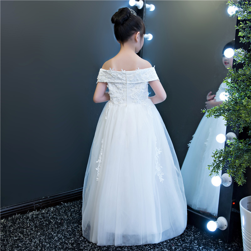 Elegant Ankle Length White Beading Shoulderless Flower Girl Dress Kids Teenagers Princess Ball Gown Party first communion Dress