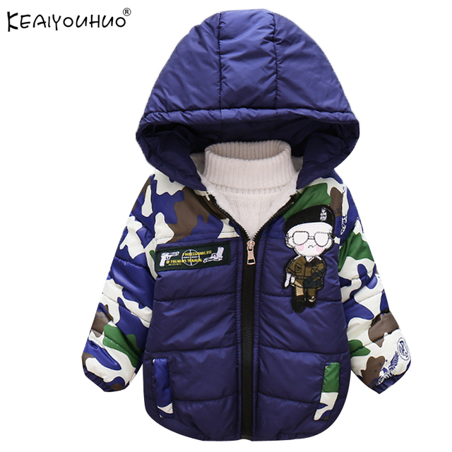 KEAIYOUHUO Down Coat New Winter Children Coats Long Sleeve Boys Clothes Hooded Jackets For Girls Cartoon Clothing Kids Outerwer