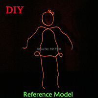 Hot Sale 10 Color Choose EL Wire DIY Party Clothes Accessories By The Style Of Matchstick