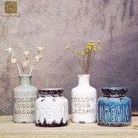 Vintage Vase Ceramic White Tabletop Small Flower Vase Ceramic Delicate Home Office Desktop Table Decoration Vase Bottle QAB093