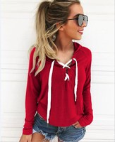 2017 Women Hoodie Sweatshirt Lace Up Long Sleeve Top Coat Sports Casual Pullover Tops