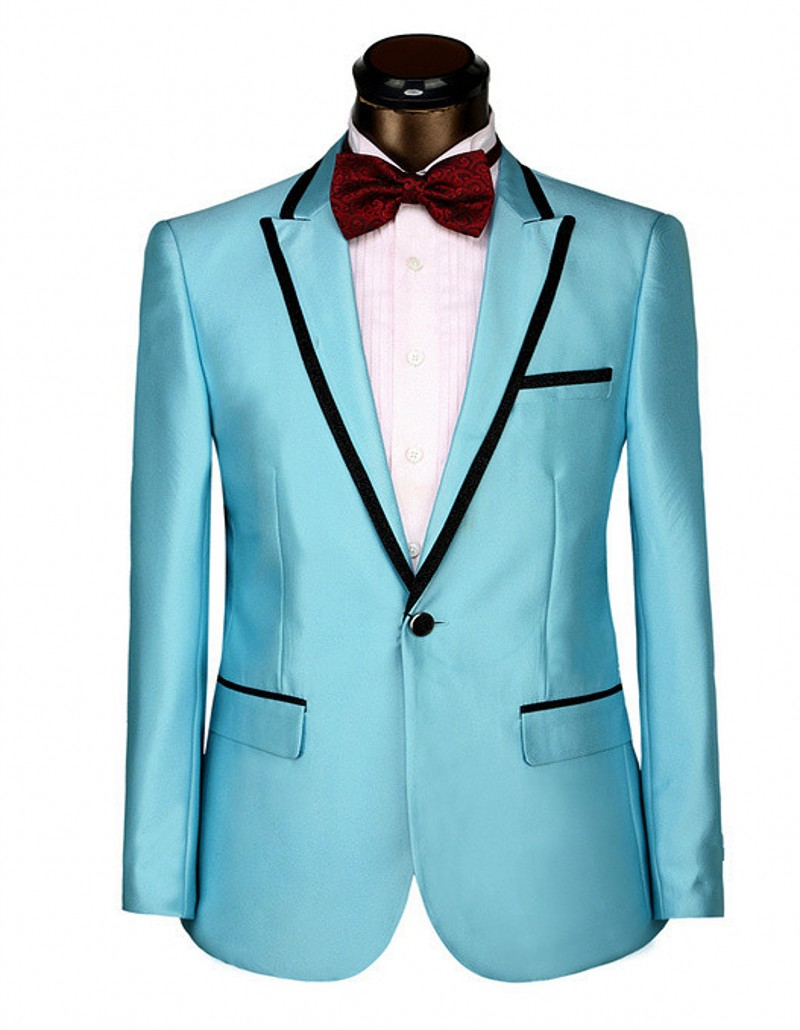 Groomsmen Peak Lapel Groom Tuxedos Blue/Red/Yellow Mens Suits ...