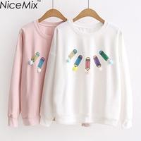 NiceMix 2017 Spring Summer Sweet T Shirt Women Tops Tees Printed T Shirt Loose Long Sleeve