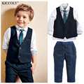 Ventas calientes 2-14 años de muchacho traje perfecto caballero de estilo Británico camisa chaleco corbata límite de marea pantalones de mezclilla azul del envío libre KC55