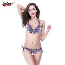 Foclassy mujeres 3xl swimwear bikini set empuja hacia arriba el traje de baño de impresión sexy para sea piscina traje de baño de gran tamaño 7005