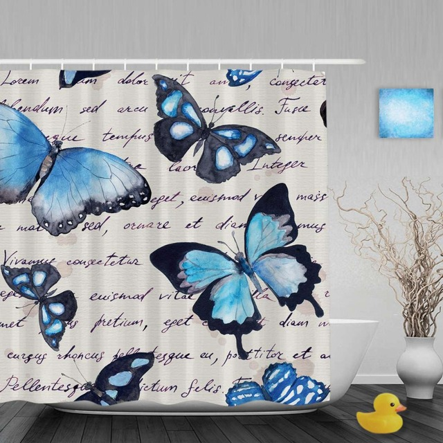 Vintage Water Painting Blue Butterfly Bathroom Shower Curtains Letter Paper Curtain Waterproof Ployster Fabric With