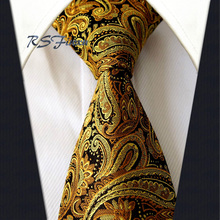 Free Shipping Paisley Gold Black Classic Mens Tie 100% Silk New Jacquard Woven Necktie Wedding Wholesale