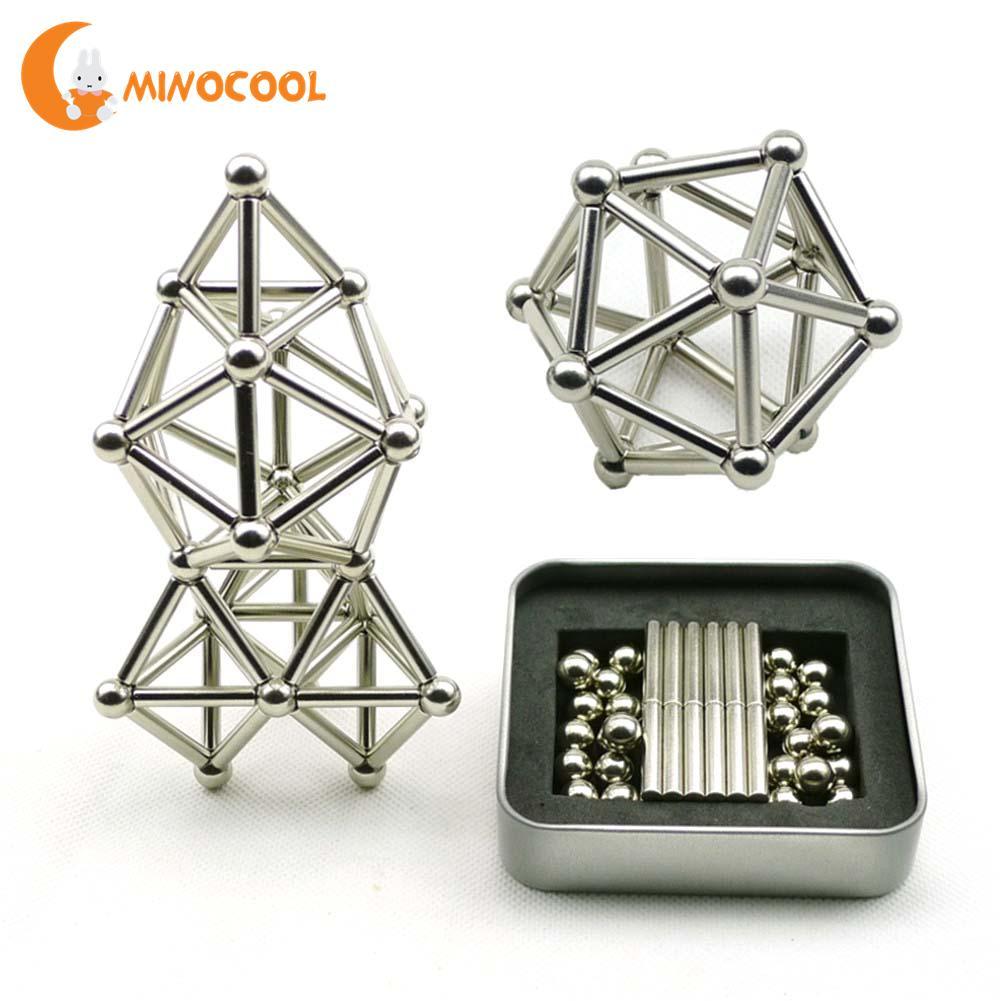 36 stücke Magnetische Sticks & 27 stücke Stahl Balls Spielzeug Innovative Buckyballs Metall Sticks Magnetische Konstruktor Spielzeug für Gebäude Modelle