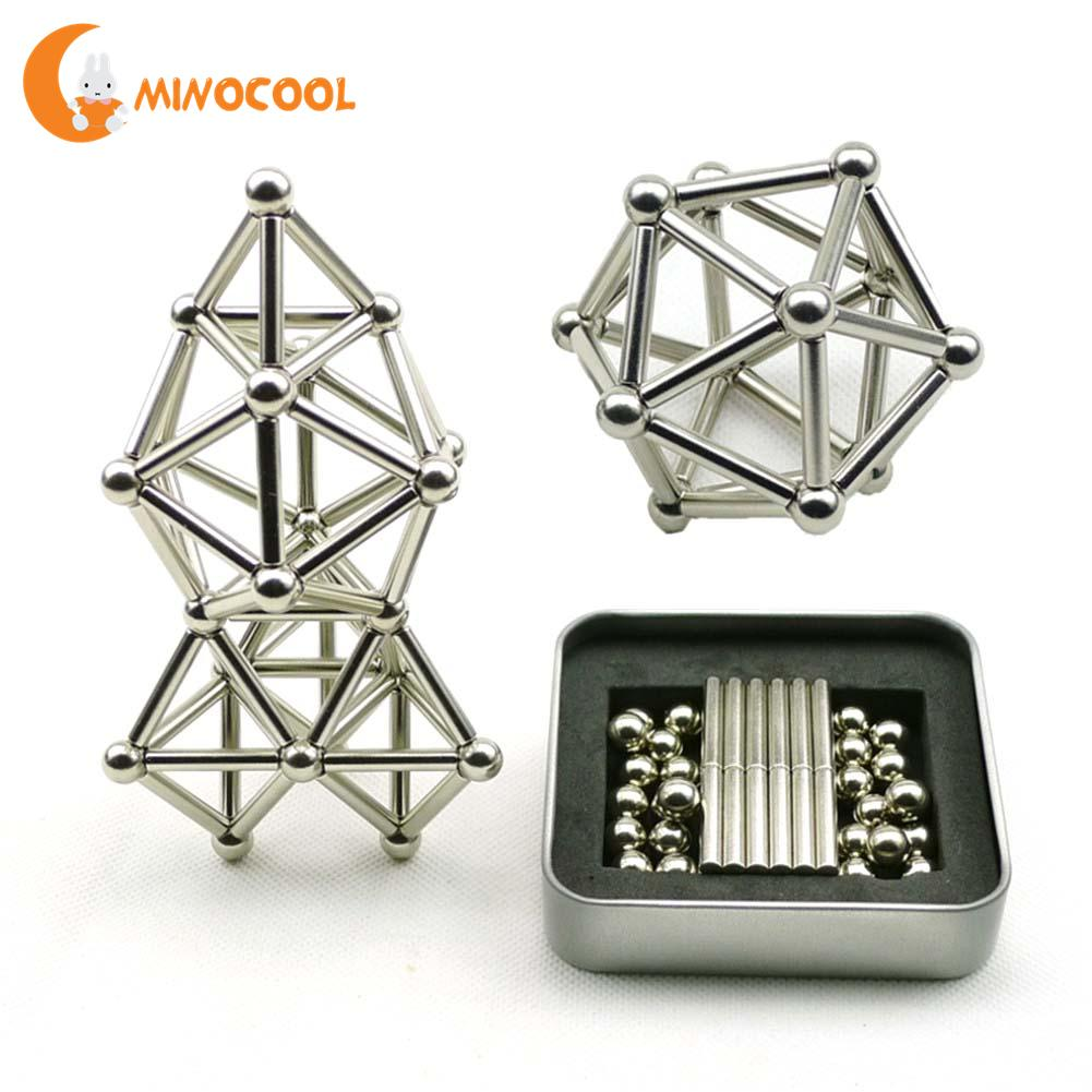 36PCS Magnetic Sticks 27PCS Steel Balls Toy Innovative Buckyballs Metal Sticks Magnetic Constructor Toys for Building
