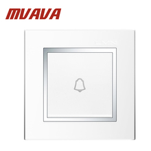 MVAVA Push Bottom home office hotel gate doorbell wall switch,white 220v one gang  door bell switch,Luxury Chromed PC panel!
