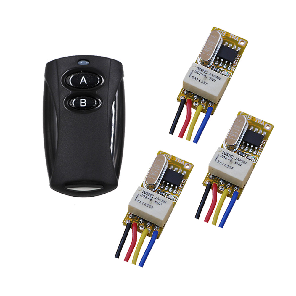 RF Remote Control Switch DC3.5V 3.6v 3.7v 4.5v 5v 6v 9v 12V Micro Relay Wireless Remote Controller with 3 Receiver dc 3 5v 12v mini relay wireless switch remote control
