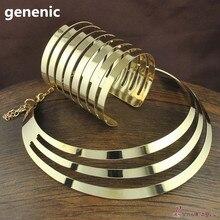 Модные Torques открытая манжета браслет браслеты ожерелье наборы для женщин вечерние ювелирные изделия платье аксессуары Bijoux женский подарок
