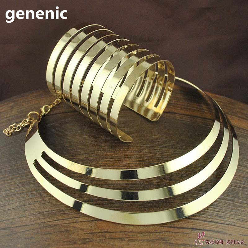 2019 New Trendy Cool Torques Opened Cuff Bracelet Bangles Necklace Sets Women Party Statement Jewelry Set Bijoux Female Gift