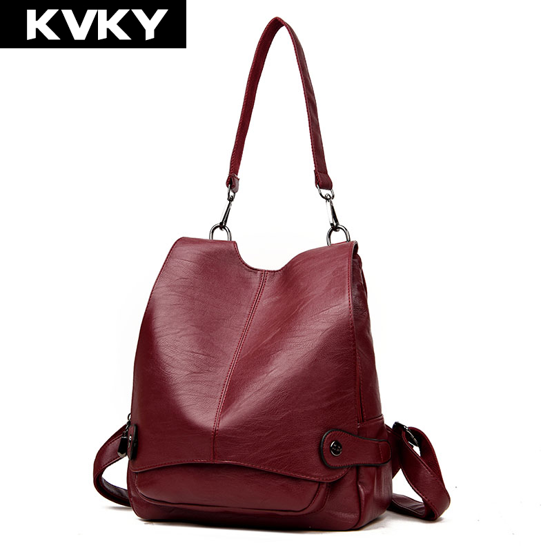 KVKY Fashion Women Backpacks PU Leather Female Backpack Travel Casual Rucksack for Teenage Girls School Bag Shoulder bag mochila women backpack bag real leather backpacks for teenage girls school bags fashion travel backpack youth rucksack mochila feminina