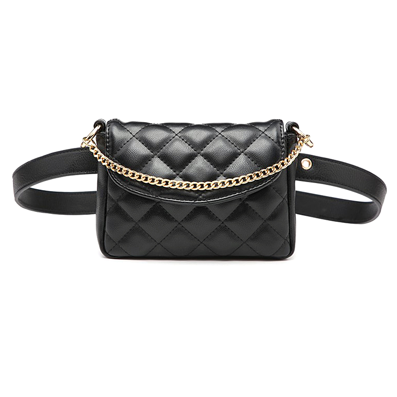 New Diamond Plaid Pattern Waist Bag For Women Metal Chain Mini Handbag Adjustable Belt Fanny Packs PU Leather Belt Bag
