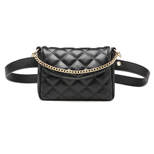 все цены на New Diamond Plaid Pattern Waist Bag for Women Metal Chain Mini Handbag Adjustable Belt Fanny Packs PU Leather Belt Bag онлайн