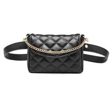 New Diamond Plaid Pattern Waist Bag for Women Metal Chain Mini Handbag Adjustable Belt Fanny Packs PU Leather Belt Bag doughnut pattern round pu chain bag