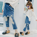 2017 Girls New Spring Blue Hole false two bust nine bellbottoms cowboy jean pant