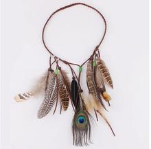 Bohemia Indian Folk Style Wooden Bead Tassel Hippie hair rope peacock feather hair headdress hair band
